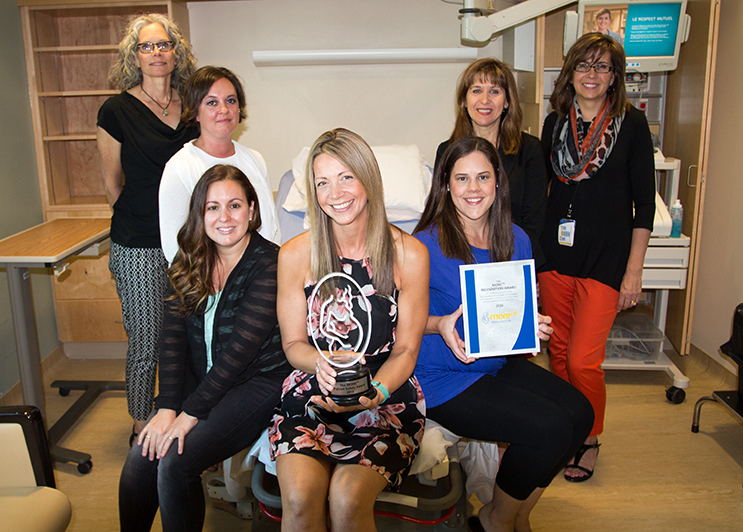 L-R: Audrey Ten Westeneind (midwife), Amanda Humphrey (Clinical Nurse Educator for Birthing), Melanie Chemery (RN Birthing), Keri Kittmer (RN Birthing, Co chair for MORE ob Committee), Emily Peterson (RN Birthing), Kim Carter (Manager Women and Child), Rhonda Scarfone ( Nursing Practice Clinical Nurse Educator).